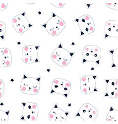 sweet cat seamless pattern print design vector image