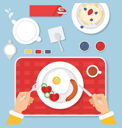 top view of healthy food for vector image