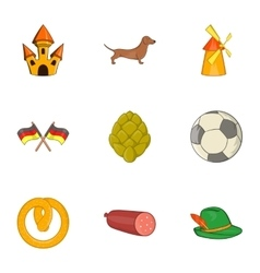 Tourism in Germany icons set cartoon style vector image