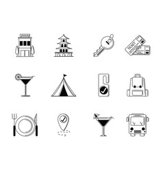 tourism vacations travel icon set thin line vector image