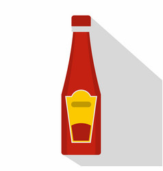 traditional tomato ketchup bottle icon flat style vector image