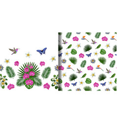 Tropical seamless border and pattern set vector