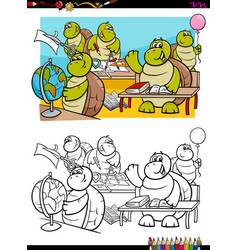 turtles student characters coloring book vector image