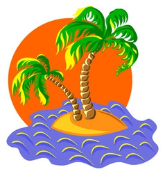 two palm trees on an island in ocean at vector image