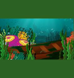 Underwater scene with sunken boat and tropical vector