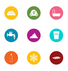 water pipe icons set flat style vector image
