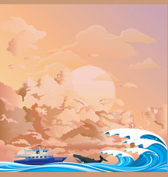 Whale watching boat at dawn vector