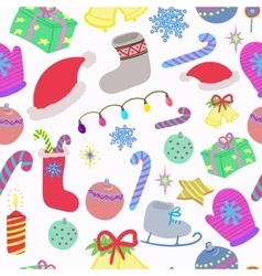 Winter Christmas doodles seamless pattern vector image