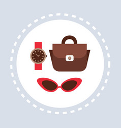 woman fashion accessories shopping icon concept vector image