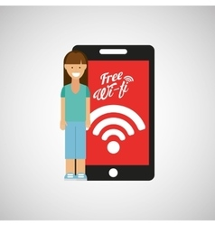 Woman smartphone internet wifi free icon vector