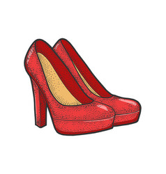 Women high heeled shoes sketch vector