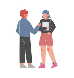 young man and woman talking and discussing vector image