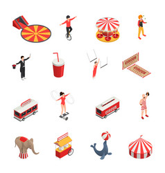 circus isometric icons set vector image vector image