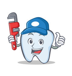 plumber tooth character cartoon style vector image