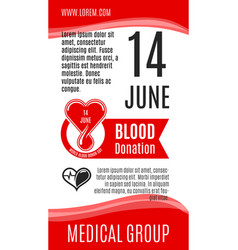 poster for world donor day blood donation vector image