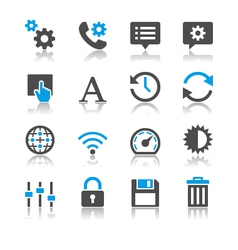 Setting icons reflection vector image