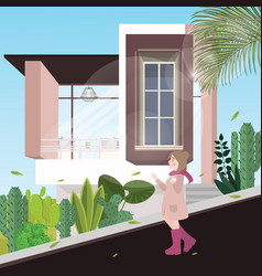 girl walking down the street alone background vector image vector image