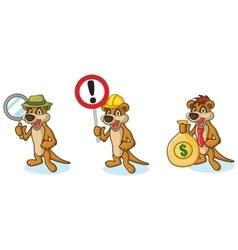 Brown Meerkat Mascot with money vector image