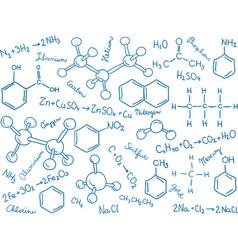 Chemistry background - molecule models and formula vector image
