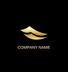 gold paper abstract business logo vector image