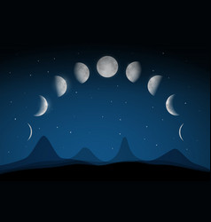 moon phases on dark night sky above abstract vector image vector image