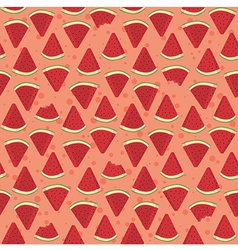 Seamless Pattern Watermelon Triangle Slice Bite vector image vector image