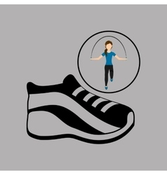 sport woman jumping rope sneaker vector image