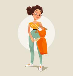 woman character choose dress flat cartoon vector image vector image