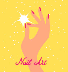 Woman hand with pink fingernails vector