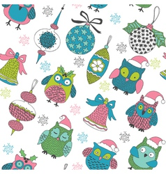 christmas owls vector image vector image