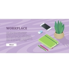 Desk with mobile phone pencils plant note book vector