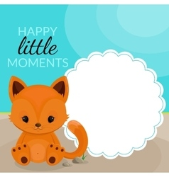 Frame with little fox and place for text vector image