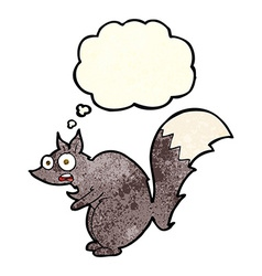funny startled squirrel cartoon with thought vector image vector image