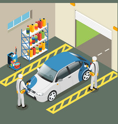 isometric car painting service concept vector image