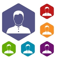 Pastor icons set vector image