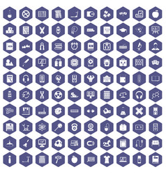 100 learning kids icons hexagon purple vector image