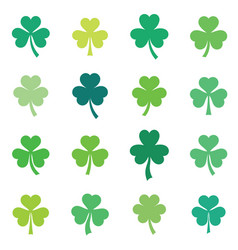 abstract green clover leaves set isolated vector image