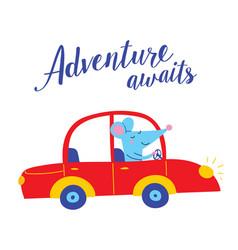 Adventure awaits card with cute rat vector