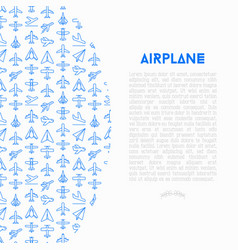 Airplane concept with thin line icons vector