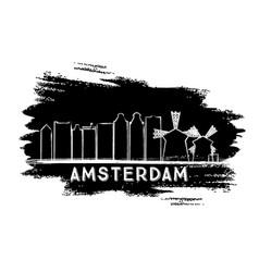 amsterdam skyline silhouette hand drawn sketch vector image