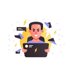 angry handsome man using laptop stressing at work vector image
