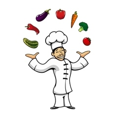 Asian chef juggling with fresh vegetables vector