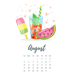 august 2018 year calendar page vector image