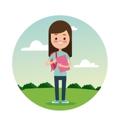 Back school girl brunette student landscape vector