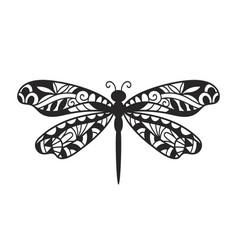 Beautiful dragonfly hand drawn ornamental print vector