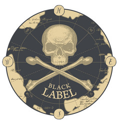 Black label with human skull crossbones and old vector