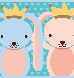Blue and pink rabbits wearing crown dots vector