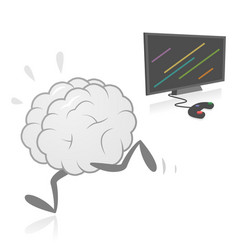 Brain running away from video games vector