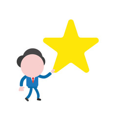 businessman character walking and holding star vector image