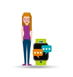 Cartoon girl smart watch app bubble speak vector